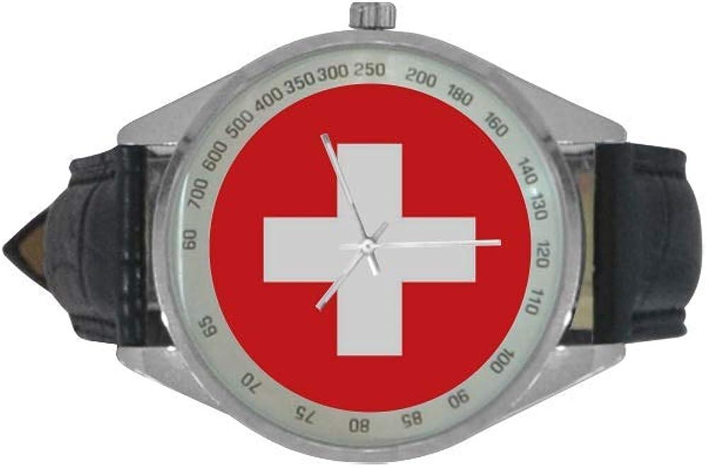 Reloj de Pulsera analógico de Cuarzo con Bandera Suiza para Hombre, Correa de Piel, Reloj de Pulsera Casual para Hombres con diseño de la Bandera Nacional: Amazon.es: Relojes