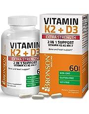 Bronson Vitamin K2 (MK7) with D3 Extra Strength Supplement Bone and Heart Health Non-GMO Formula 10,000 IU Vitamin D3 & 120 mcg Vitamin K2 MK-7 Easy to Swallow Vitamin D & K, 60 Capsules
