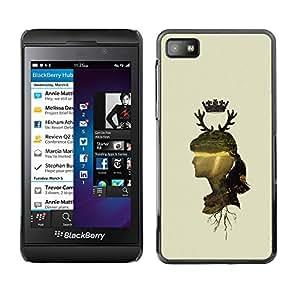 Qstar Arte & diseño plástico duro Fundas Cover Cubre Hard Case Cover para Blackberry Z10 ( Woman Profile Portrait Nature Crown Horns Deer)