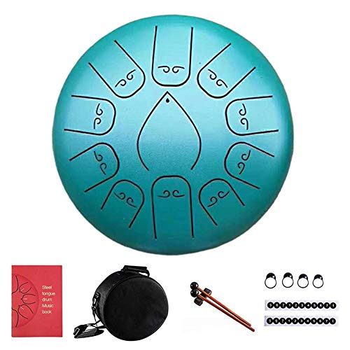 Leiyini Steel Tongue Drum,12 Inch 11 Notes Pan Drum Percussion Steel Drum Instrument with 1 Set of Scale Stickers, 4 Finger Cover, Padded Travel Bag, Musc Book, Music Yoga Meditation