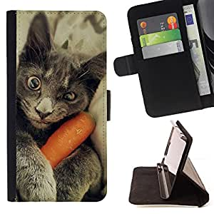 KingStore / Leather Etui en cuir / Samsung Galaxy S3 MINI 8190 / Chartreux gato azul ruso divertido gatito