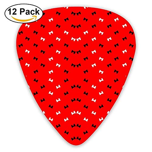 Bows On Red Fabric Guitar Picks For Electric Guitar 12 ()