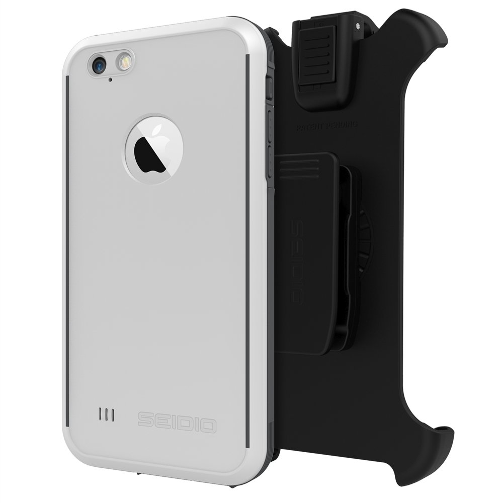 Seidio OBEX Waterproof Case and Removable Belt-Clip Holster Combo for the iPhone 6 Plus/6s Plus [Drop Proof] - Retail Packaging - White/Gray by Seidio