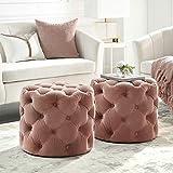 Inspired Home Grey Velvet Ottoman - Design: Lauren   Allover Tufted   Round   Modern Contemporary   1 PC