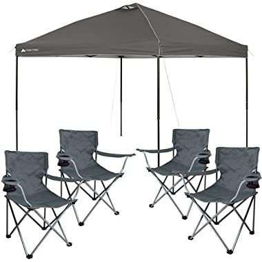 Ozark Trail Instant 10'x10' Straight Leg Canopy (Dark Gray) with 4 Folding Quad Arm Chairs - Gray