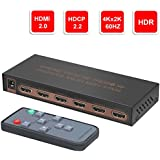YIBAI 4K@60Hz 5 ports HDMI Switch, 5 inputs 1 output HDMI Switch Box with IR Wireless Remote HDMI 2.0,HDCP 2.2,UHD,CEC,HDR HDMI Switcher 5x1 Supports FullHD,3D,For Blu-ray players,PS4, and more.