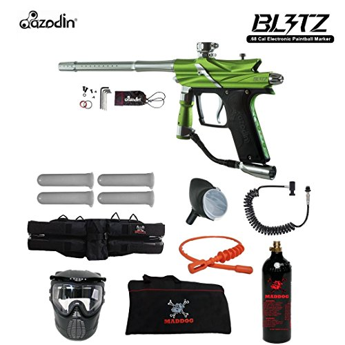 Autococker Gun - MAddog Azodin Blitz 3 Specialist Paintball Gun Package - Green