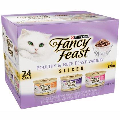Fancy Feast Sliced Poultry & Beef Feast Variety Pack Chicken Hearts & Liver, Beef Feast, Turkey Feast 24/3oz