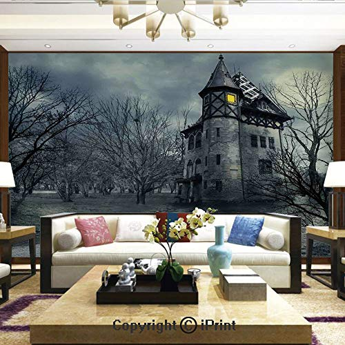 (Wallpaper Nature Poster Art Photo Decor Wall Mural for Living Room,Halloween Design with Gothic Haunted House Dark Sky and Leafless Trees Spooky Theme Decorative,Home Decor - 100x144)