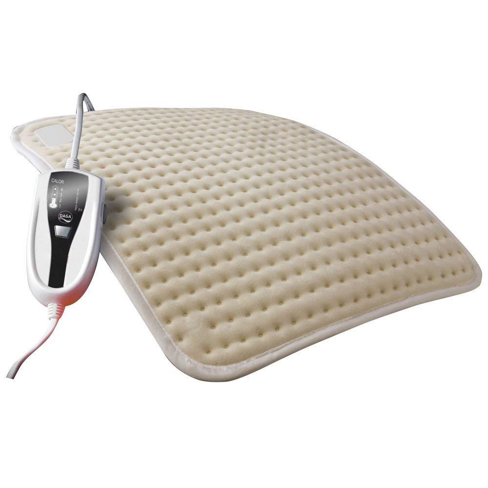 Daga E - Almohadilla eléctrica económica, 100 W, 38x27 centímetros, 4 niveles de temperatura, calientamiento rápido, textil algodón y poliéster