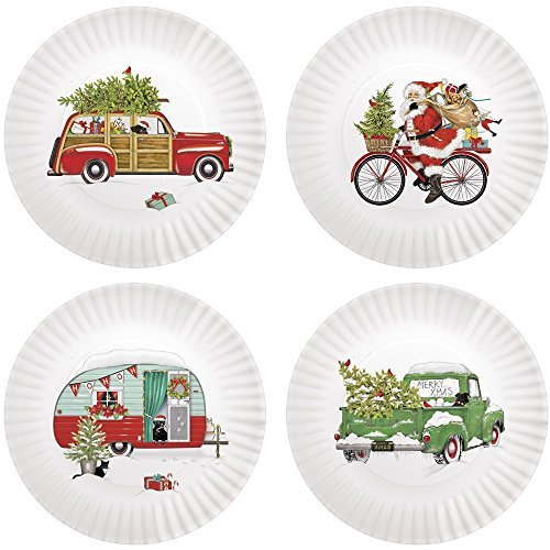 Mary Lake-Thompson Holiday Camper 9-inch Melamine Plates, Set of 4
