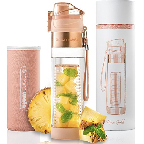 MAMI WATA Fruit Infuser Water Bottle – Create Naturally Flavoured Fruit Infused Water – Unique stylish design, Beautiful Gift Box, Insulated sleeve, Free recipes eBook - 24oz Eco Friendly Water Bottles