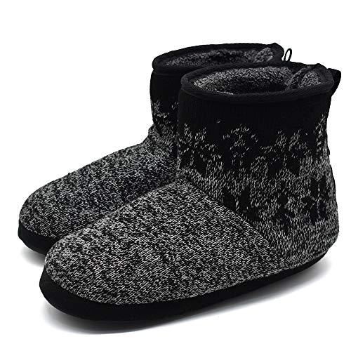 Mens Woolen Knit Slipper Boots Furry Plush Foam Velvet Slip on Ankle Booties Indoor House Bedroom -