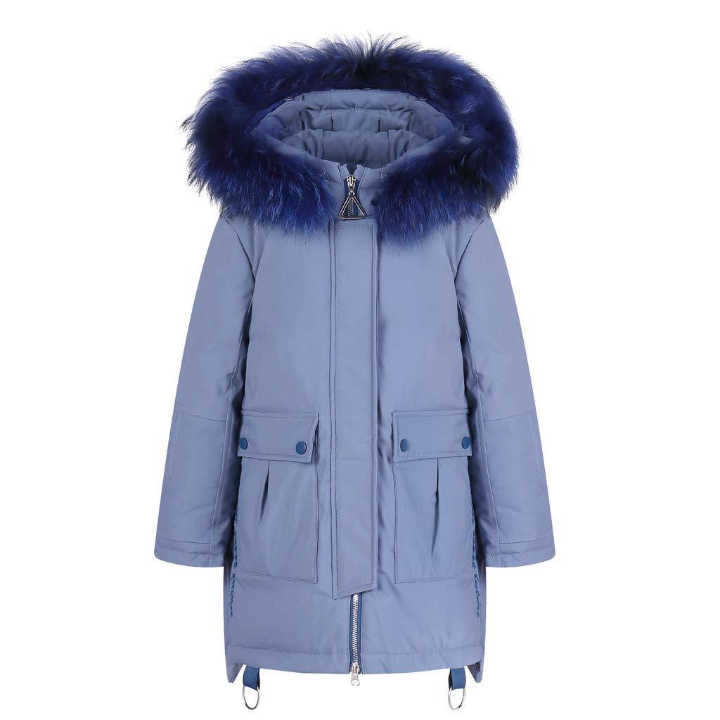 BFYOU Kids Girls Boys Winter Faux Hooded Down Coat Jacket Padded Overcoat Light Blue by BFYOU_ Girl Clothing