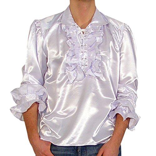 Satinhemd Rüschenhemd Hemd Gothic Gr. XXL 1436 Weiss