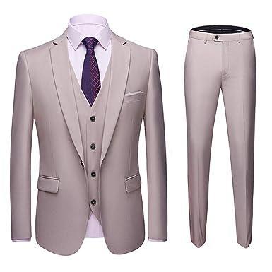 Sliktaa Costume Homme 3 Pièces Slim Fit Formel Smoking de Mariage Business  Soirée Veste Gilet et e571413f80f