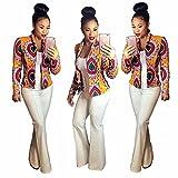 ChrisMonroeSTL Women's Crop Coat Long Sleeve Fashion African Print Dashiki Short Casual Jacket Red Orange & Black
