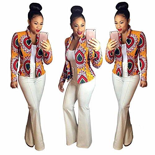 ChrisMonroeSTL Women's Crop Coat Long Sleeve Fashion African Print Dashiki Short Casual Jacket Red Orange & Black by ChrisMonroeSTL
