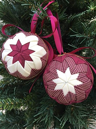 Amazon Com No Sew Quilted Christmas Ornament Kit Burgundy Cream