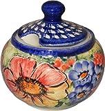 "Polish Pottery Sugar Bowl honey pot Unikat Eva's Collection ""Flower Field"""