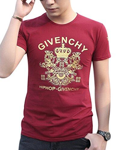 VENTELAN Men's Short Sleeve New Fashion Casual Floral Tunic Round Neck T-Shirt