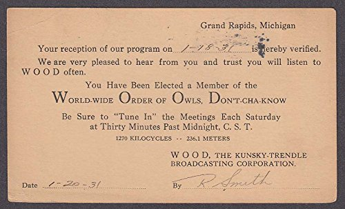 WOOD Kunsky-Trendle Broadcasting Corporation Grand Rapids MI QSL card 1931