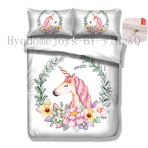Home4Joys Flowers Unicorn White Bedding Sets Pillows Case with Full Queen Duvet Cover Cotton Bedding Comforter Set Queen Size