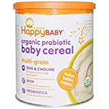 Happy Baby Organic Probiotic Baby Cereal with Choline, Multi-Grain, 7 Ounce Canister (Pack of 6) Packaging may vary