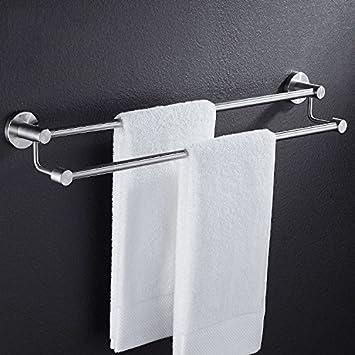 Barra de toalla acero inoxidable 304 baño doble alto y bajo cepillado colgador de toallas baño de poste toallero con una longitud total de 30 cm: Amazon.es: ...
