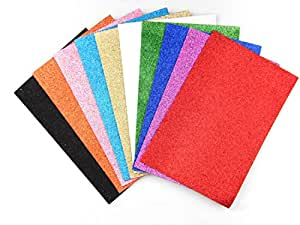 ALL in ONE 10 Color Glitter Sticky Back Foam Sheets Art Craft Project 10/pkg 20x30cm