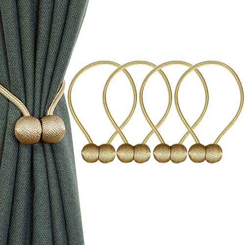 ApisNest Magnetic Curtain Tiebacks Clips Classic European Window Treatment Holdbacks Home Office Decorative Drapes Holders Buckle with Strong Magnetic for Home Décor Clasp (Gold)
