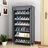 Aysis 6 Layer Multipurpose Portable Folding Shoes Rack/Shoes Shelf/Shoes Cabinet with Wardrobe Cover, Easy Installation Stand for Shoes(Shoes Rack)(Shoes Rack, Shoes Racks for Home)_6 Layer Grey