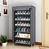 "Aysis Multipurpose Portable Folding Shoes Rack 4""//6"" Tiers Multi-Purpose Shoe Storage Organizer Cabinet Tower with Iron and Nonwoven Fabric with Zippered Dustproof Cover"