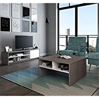 Bestar Small Space 2 Piece Coffee Table Set in Bark Gray