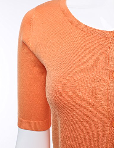 Womens Button Down Fitted Short Sleeve Fine Knit Top Cardigan Sweater LIGHTORANGE L by FLORIA (Image #3)