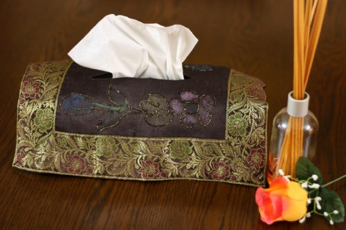 Hand Painted Deluxe Floral Tissue Box Cover (Coffee Brown)
