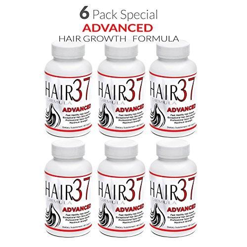 Vitamins 37 Formula Hair (6 Pack Hair Vitamins for Fast Hair Growth Hair Formula 37 Advanced Best Value on Vitamins for Hair Skin Nails)