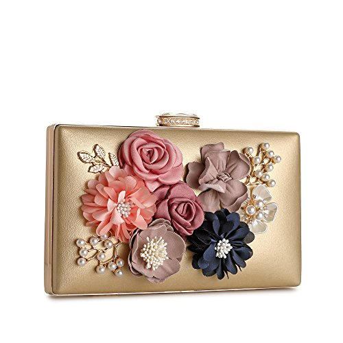 Pearl Clutch Prom Evening Wedding Flower S543 Bags Handbag Beaded Evening Women's Bride Gold For Satin RqTXAWt