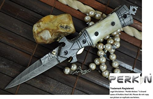 Now on Sale – Handmade Damascus Hunting Knife – Beautiful Folding Knife – Work of Art