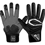 Cutters Force Padded Football Glove, Extreme Grip Football Glove, Flexible Padded Palms & Back of Hand, Adult, 1 Pair
