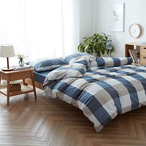DOUH Washed Cotton Duvet Cover Queen Full Size Blue Grey Duvet Cover Set 3 Piece, 1 Duvet Cover + 1 Pillow Sham, Super Soft Plaid Pattern Simple Style Bedding - Jersey Washed Cotton