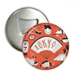 Sushi Geisha Japan Tokyo Japanese Round Bottle Opener Refrigerator Magnet Pins Badge Button Gift 3pcs