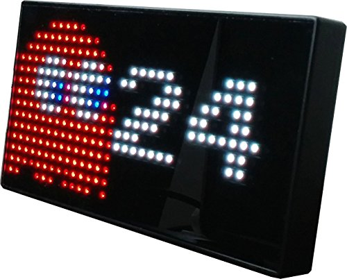 Face Man Pac (PAC-MAN Premium LED Desk Clock - 512 Vibrant LED's Display Classic Animations From the Hit Arcade Video Game - Officially Licensed Merchandise - Great 8-bit Retro Gift!)