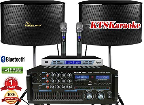 IDOLPRO IPS-13G 1000W Loudspeaker & IP-388 II 1400W W/Equalizer Professional Console Mixing Amplifier & Dual High-Tech Wireless Microphones Package DealFREE Speaker Cables & Speaker Stands