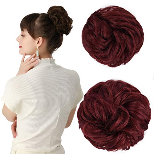 REECHO Women#039s Thick 2PCS Hair Scrunchies Made of Hair Curly Wavy Updo Hair Bun Extensions Messy Hairpieces  Wine Red