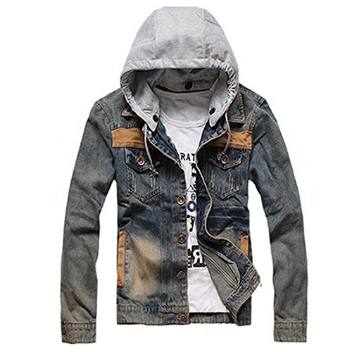 Partiss Mens Washed Denim Motorcycle Jacket Medium,as picture