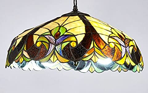 Diamond Life Tiffany Style Stained Glass Hanging Lamp Ceiling Fixture TL16006, 18-inch wide - Diamond Style Light