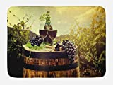 grape bath mat - Wine Bath Mat by Ambesonne, Scenic Tuscany Landscape with Barrel Couple of Glasses and Ripe Grapes Growth, Plush Bathroom Decor Mat with Non Slip Backing, 29.5 W X 17.5 W Inches, Green Black Brown
