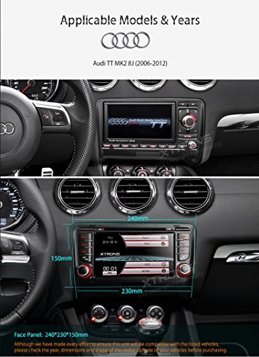 XTRONS 7 Inch HD Digital Touch Screen Car Stereo In-Dash DVD Player with GPS Navigation Dual Channel CANbus Screen Mirroring Function for Audi TT MK2 Kudos Map Card Included by XTRONS (Image #2)