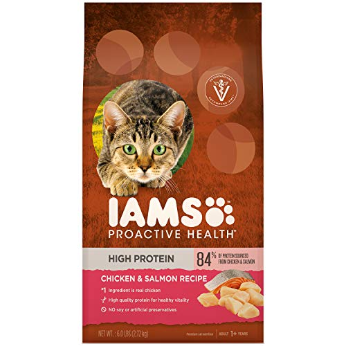 IAMS PROACTIVE HEALTH High Protein Adult Dry Cat Food with Chicken & Salmon, 6 lb. Bag